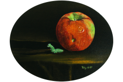 Apple with Worm Figurine