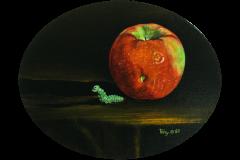 Apple with Worm Figurine